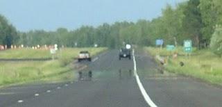 Miragem no asfalto